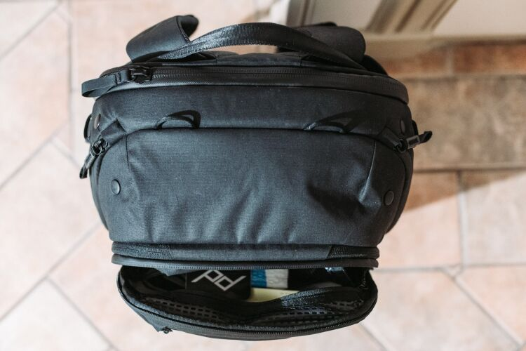 The front panel opened of the Peak Design 45L Travel Backpack